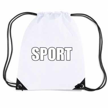 Goedkope wit sport rugtasje/ gymtasje kinderen rugzak