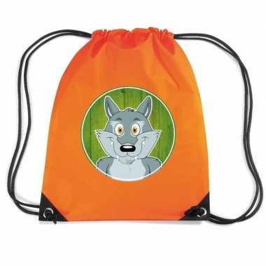 Goedkope wolven rugtas / gymtas oranje voor kinderen rugzak