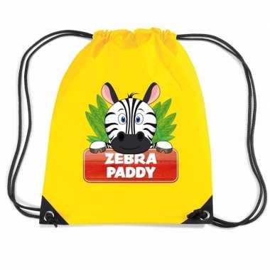 Goedkope zebra paddy rugtas / gymtas geel voor kinderen rugzak