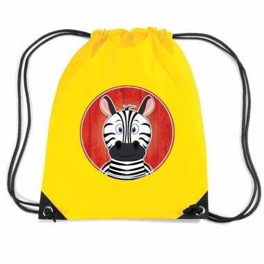 Goedkope zebra rugtas / gymtas geel voor kinderen rugzak