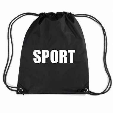 Goedkope zwart sport rugtasje/ gymtasje kinderen rugzak