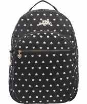 Goedkope hartjes backpack rugzak zwart met zilver 32 x 42 cm marshmallow voor dames meisjes