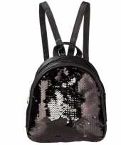 Goedkope mini rugzak zwart met pailletten 19 cm festival musthave