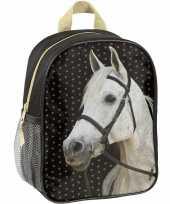 Goedkope paarden kleuter peuter schooltasje zwart 28 x 22 x 10 cm rugzak