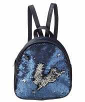 Goedkope rugzak schooltas blauw met pailletten 19 cm voor meisjes