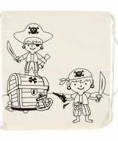 Goedkope set van 6x stuks inkleurbare katoenen rugzakjes piraat 41 cm