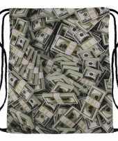 Goedkope sporttasje met bankbiljetten print rugzak