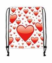 Goedkope sporttasje wit met rode hartjes rugzak