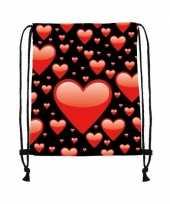 Goedkope sporttasje zwart met rode hartjes rugzak